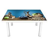 Наклейка на стол виниловая Стальные Кувшины ПВХ пленка для мебели интерьерная 3D натюрморт 600*1200 мм, фото 1