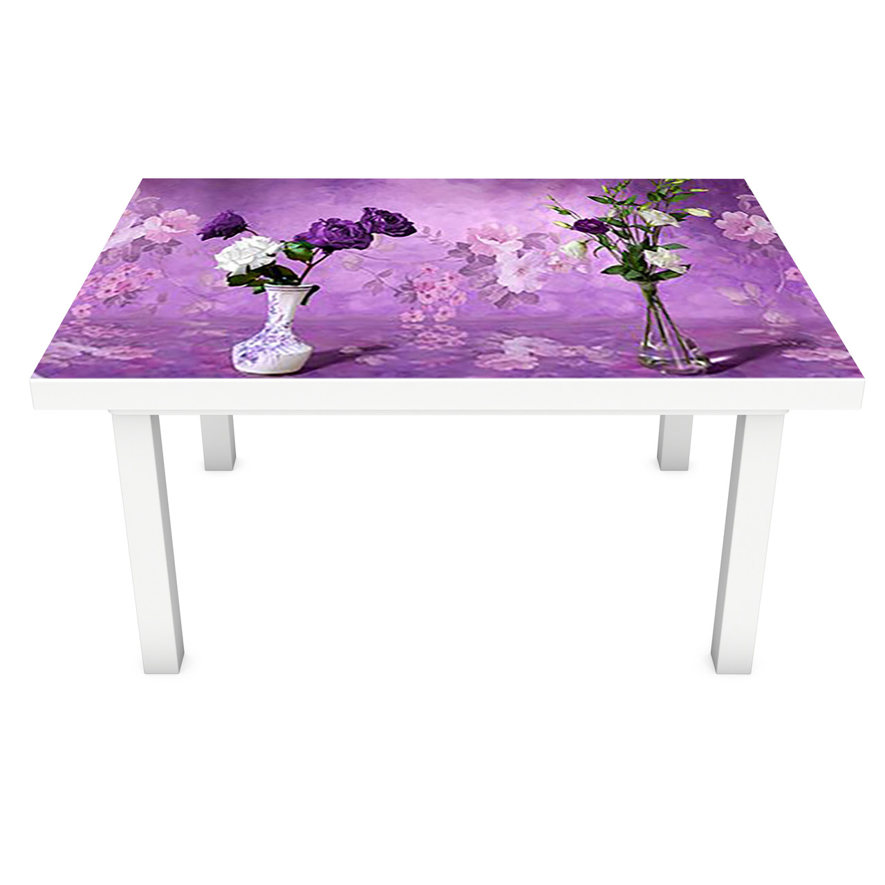 Наклейка на стол виниловая Сирень Акварель (ПВХ пленка для мебели интерьерная 3D букеты фиолетовый 600*1200 мм