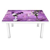 Наклейка на стол виниловая Сирень Акварель (ПВХ пленка для мебели интерьерная 3D букеты фиолетовый 600*1200 мм, фото 1