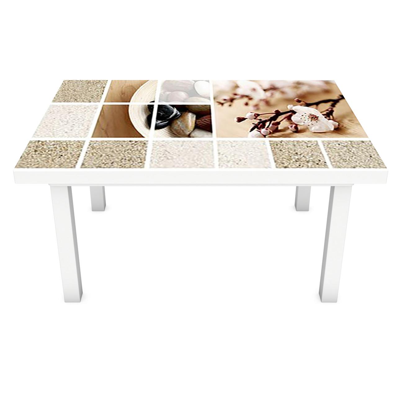 Наклейка на стіл вінілова Охра 02 ПВХ плівка для меблів інтер'єрна 3D колаж пісок текстура беж 600*1200 мм