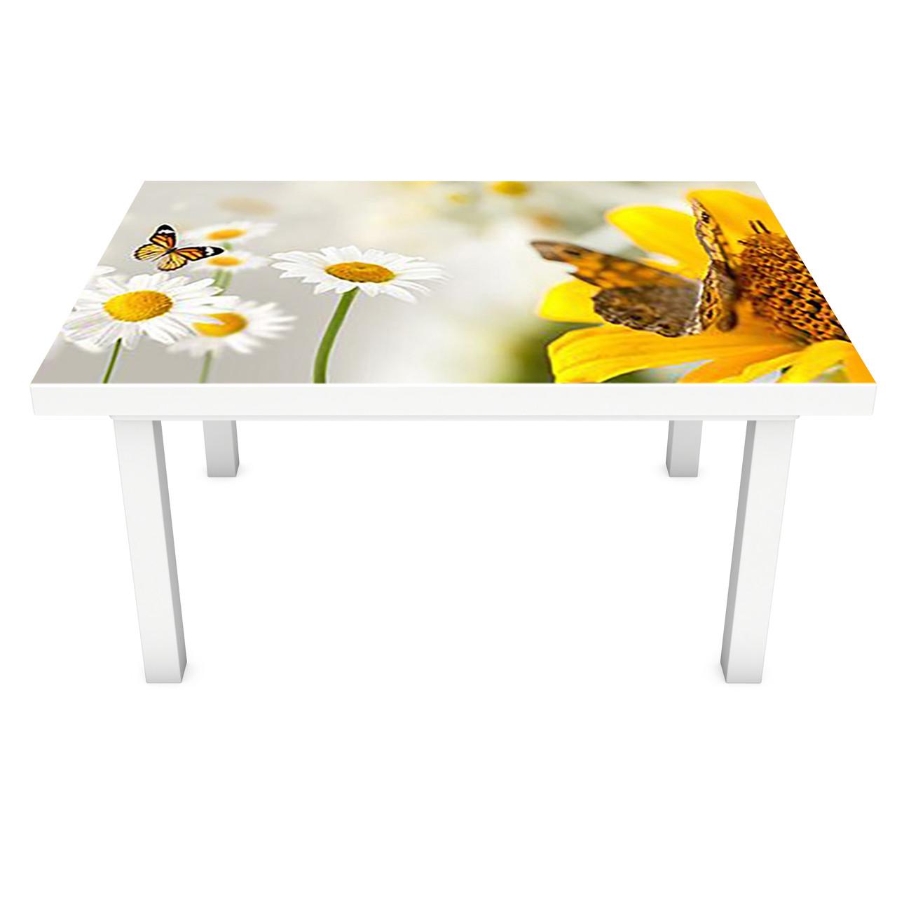 Наклейка на стіл вінілова Ніжні Ромашки 02 ПВХ плівка для меблів інтер'єрна 3D метелики жовтий 600*1200 мм