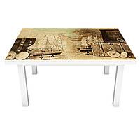 Наклейка на стіл вінілова Маяк і Чемодан ПВХ плівка для меблів інтер'єрна 3D ретро море вантажу 600*1200 мм
