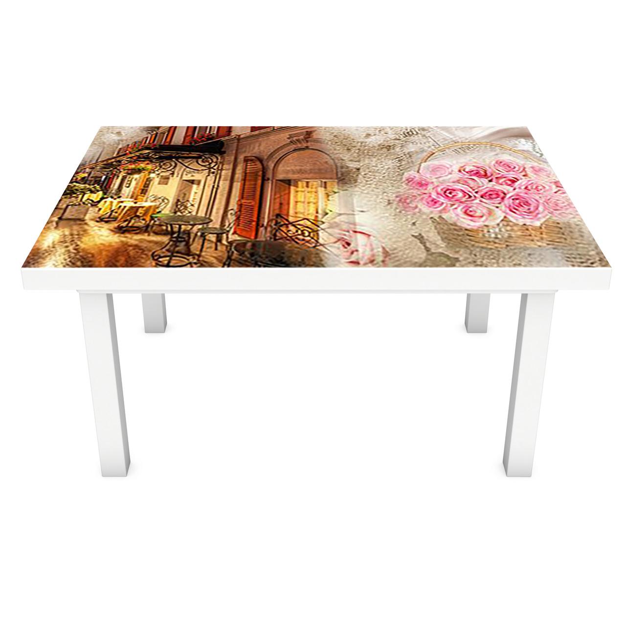 Наклейка на стіл вінілова Вечірня прогулянка на меблі інтер'єрна ПВХ 3Д ретро вінтаж троянди 600*1200 мм