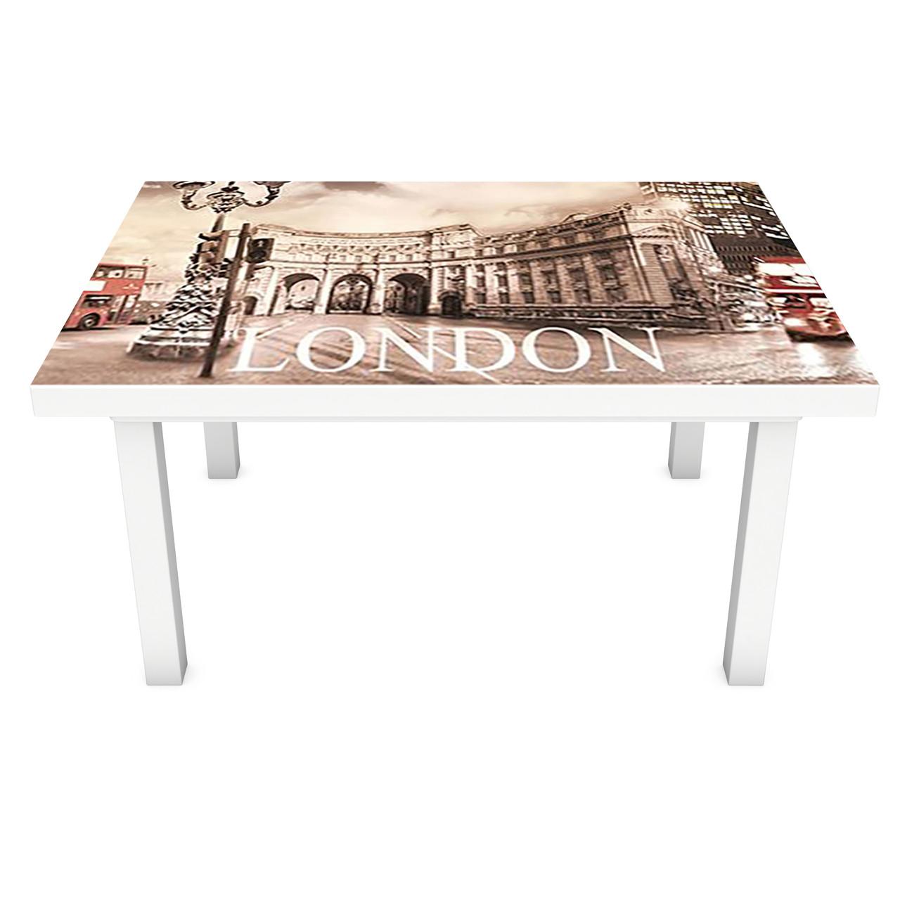 Наклейка на стіл вінілова Лондонська площа на меблі інтер'єрна ПВХ 3Д автобус Будка символ 600*1200 мм