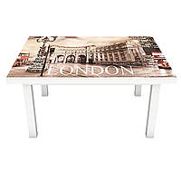 Наклейка на стол виниловая Лондонская площадь на мебель интерьерная ПВХ 3Д автобус Будка символ 600*1200 мм, фото 1