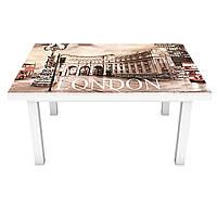 Наклейка на стол виниловая Лондонская площадь на мебель интерьерная ПВХ 3Д автобус Будка символ 600*1200 мм