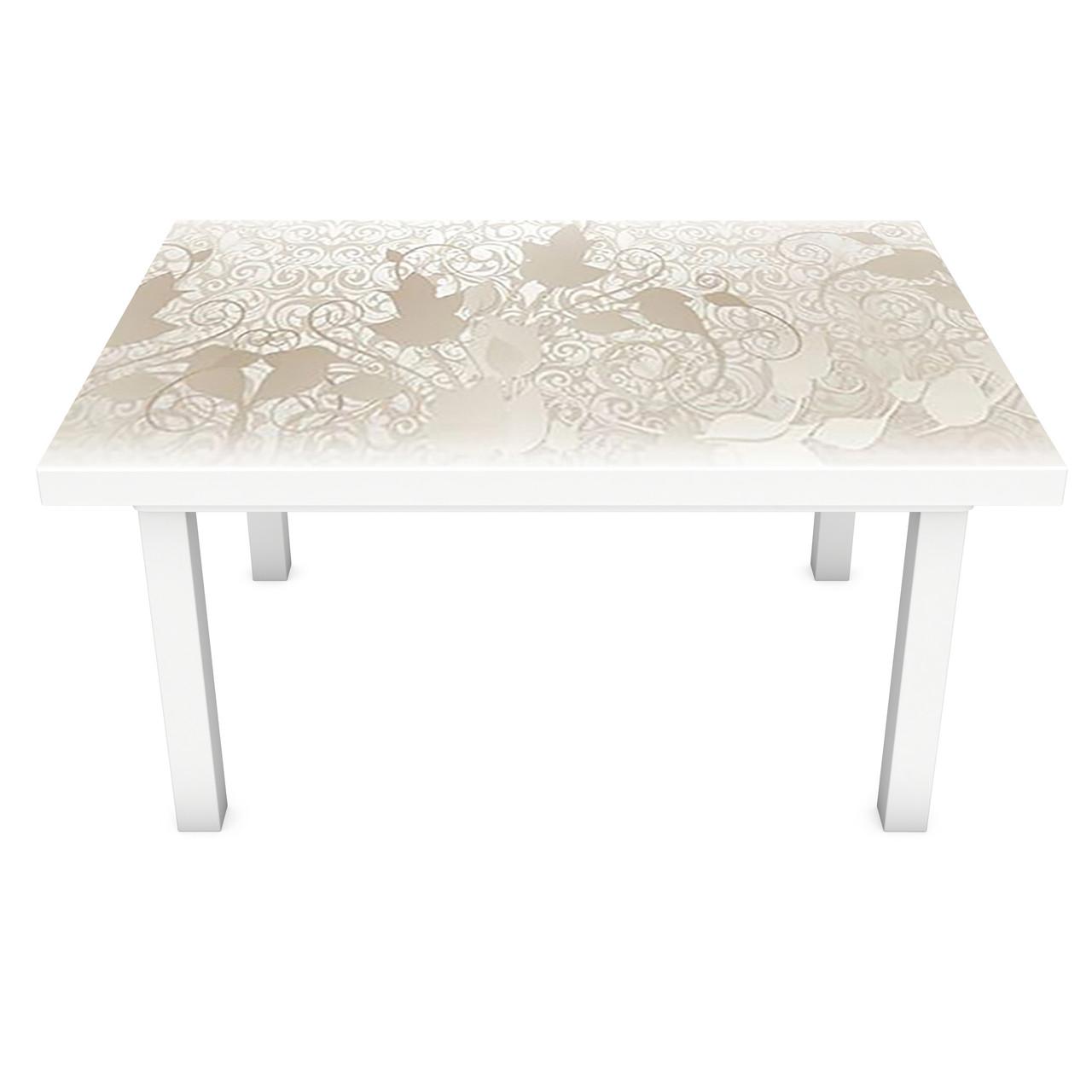 Наклейка на стол виниловая Бежевый Узор на мебель интерьерная ПВХ пленка растительный орнамент 600*1200 мм