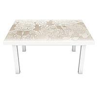 Наклейка на стол виниловая Бежевый Узор на мебель интерьерная ПВХ пленка растительный орнамент 600*1200 мм, фото 1