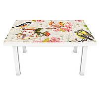 Наклейка на стіл вінілова Акварельні Птахи і Квіти ПВХ плівка для меблів інтер'єрна 3D бежевий 600*1200 мм