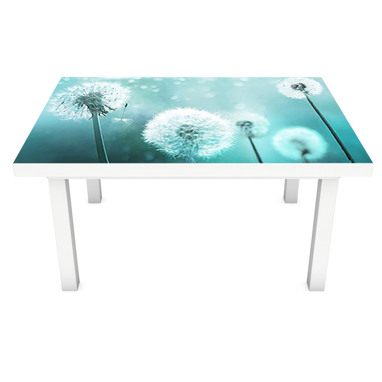 Наклейка на стіл вінілова Бірюзові Кульбаби на меблі інтер'єрна ПВХ 3Д квіти блакитний 600*1200 мм