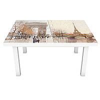 Наклейка на стол виниловая Ретро 02 ПВХ пленка для мебели 3D Париж Эйфелева башня беж 600*1200 мм