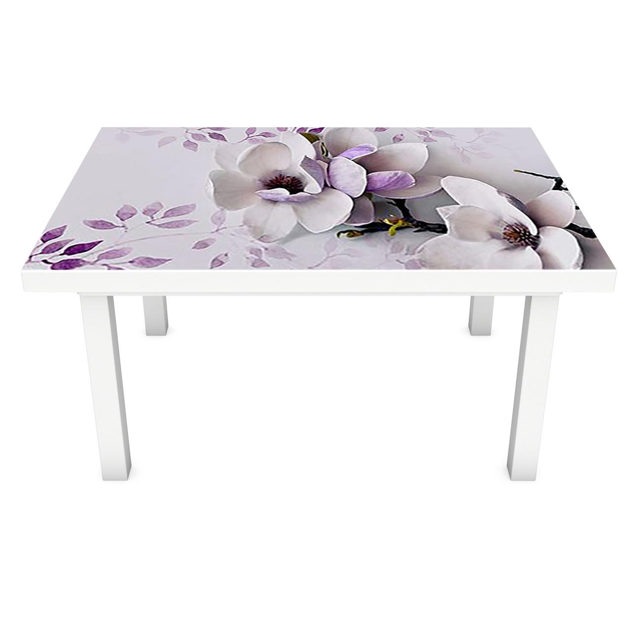 Наклейка на стол виниловая Магнолия 02 ПВХ пленка для мебели интерьерная 3D фиолетовые цветы 600*1200 мм