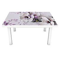 Наклейка на стол виниловая Магнолия 02 (ПВХ пленка для мебели интерьерная 3D) фиолетовые цветы 600*1200 мм