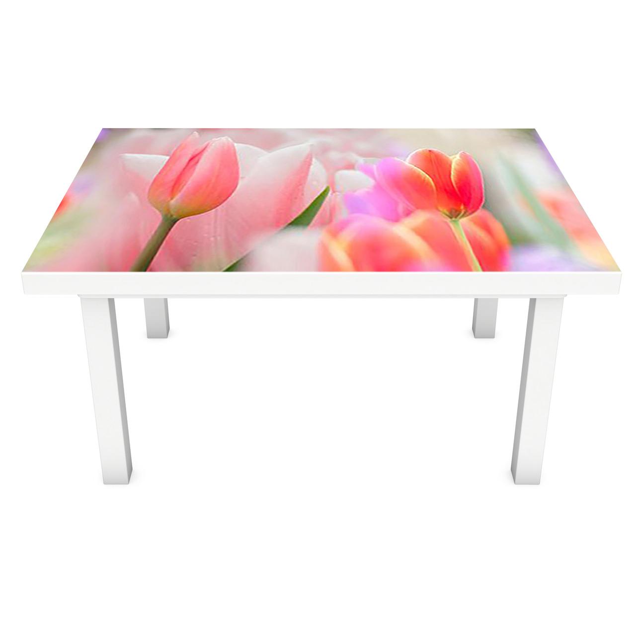 Наклейка на стіл вінілова Рожеві Тюльпани ПВХ плівка для меблів інтер'єрна 3D квіти бутони 600*1200 мм