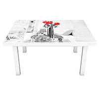 Наклейка на стол виниловая Домашний уют 02 на мебель интерьерная ПВХ 3Д Париж Эйфелева башня 600*1200 мм, фото 1