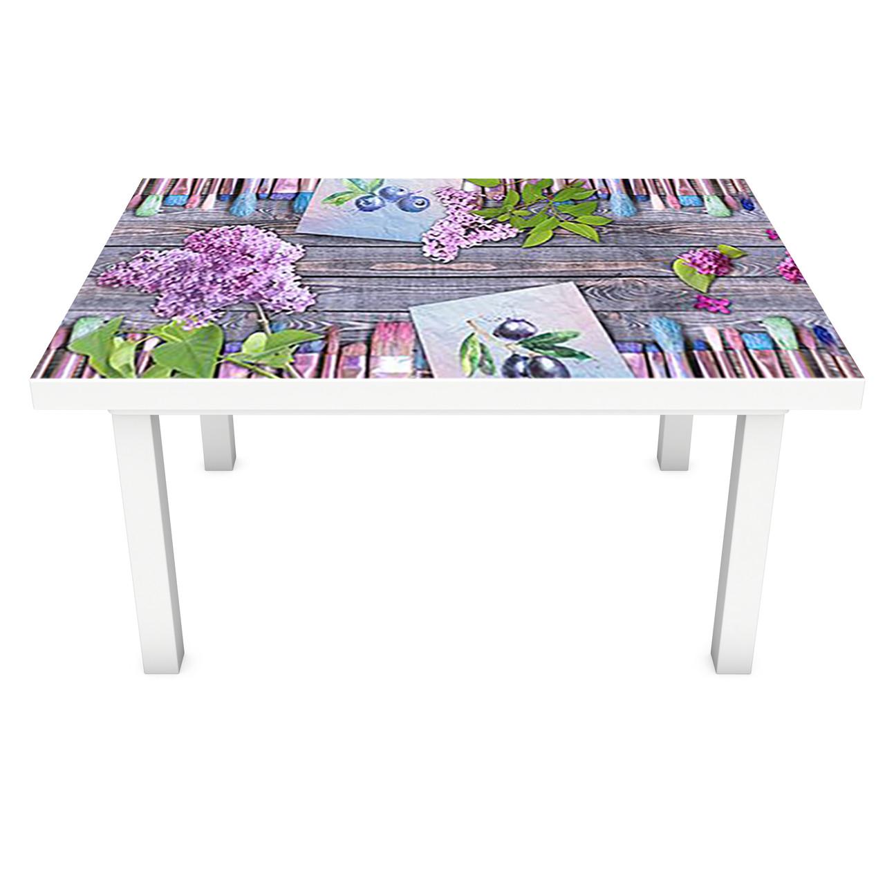 Наклейка на стол виниловая Сирень Краски ПВХ пленка для мебели интерьерная 3D доски фиолетовый 600*1200 мм