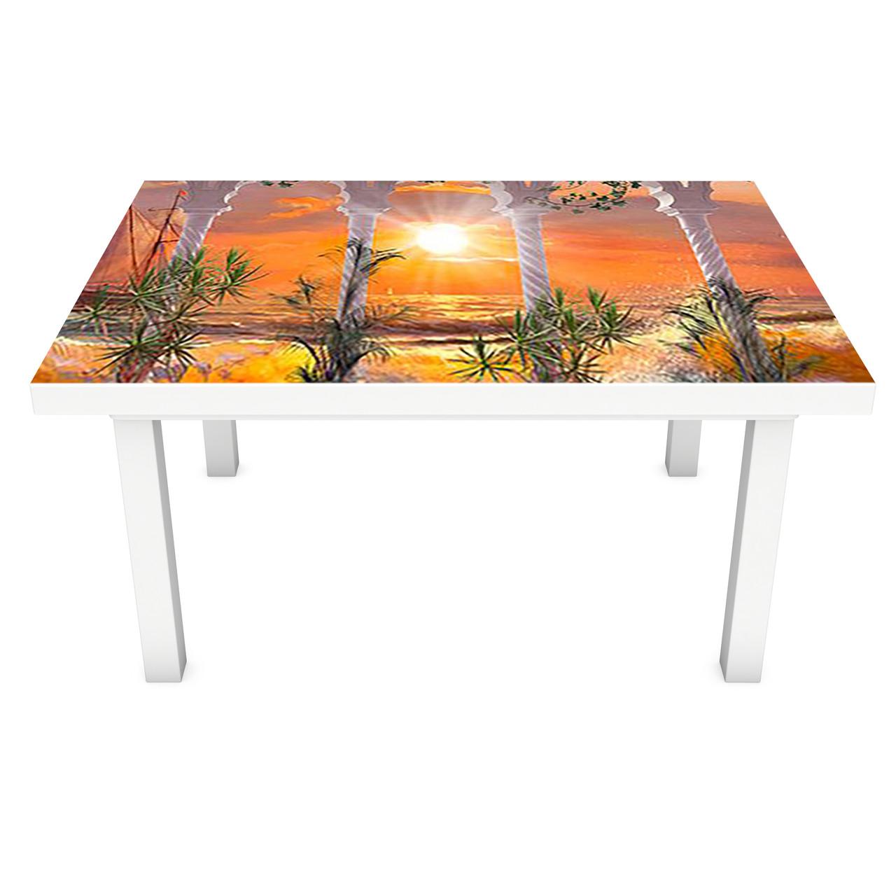 Наклейка на стол виниловая Красочный закат на мебель интерьерная ПВХ пленка колоны море корабль 600*1200 мм