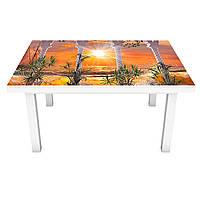 Наклейка на стол виниловая Красочный закат на мебель интерьерная ПВХ пленка колоны море корабль 600*1200 мм, фото 1
