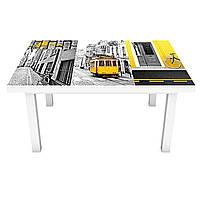 Наклейка на стол виниловая Желтый трамвай Лиссабон на мебель интерьерная ПВХ пленка коллаж серый 600*1200 мм