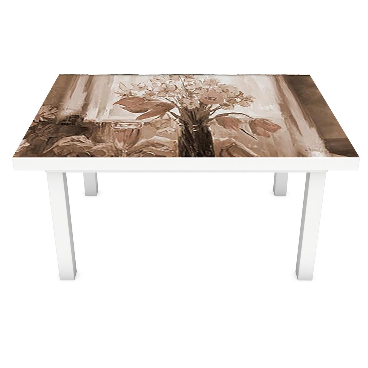 Наклейка на стіл вінілова Картина півонії ретро цеглини на меблі інтер'єрна ПВХ плівка бежевий 600*1200 мм