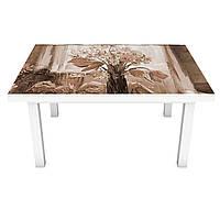 Наклейка на стіл вінілова Картина півонії ретро цеглини на меблі інтер'єрна ПВХ плівка бежевий 600*1200 мм, фото 1
