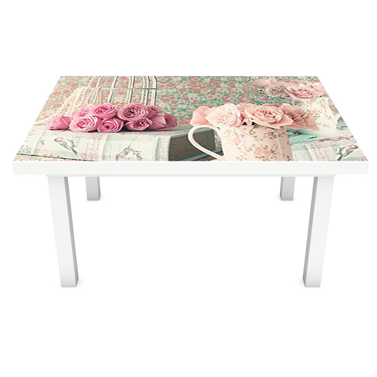 Наклейка на стол виниловая Прекрасное утро 02 ПВХ пленка для мебели интерьерная 3D ретро розовый 600*1200 мм