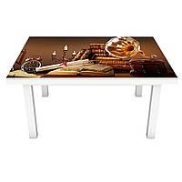 Наклейка на стіл вінілова Ретро Телефон на меблі інтер'єрна ПВХ плівка натюрморт коричневий 600*1200 мм
