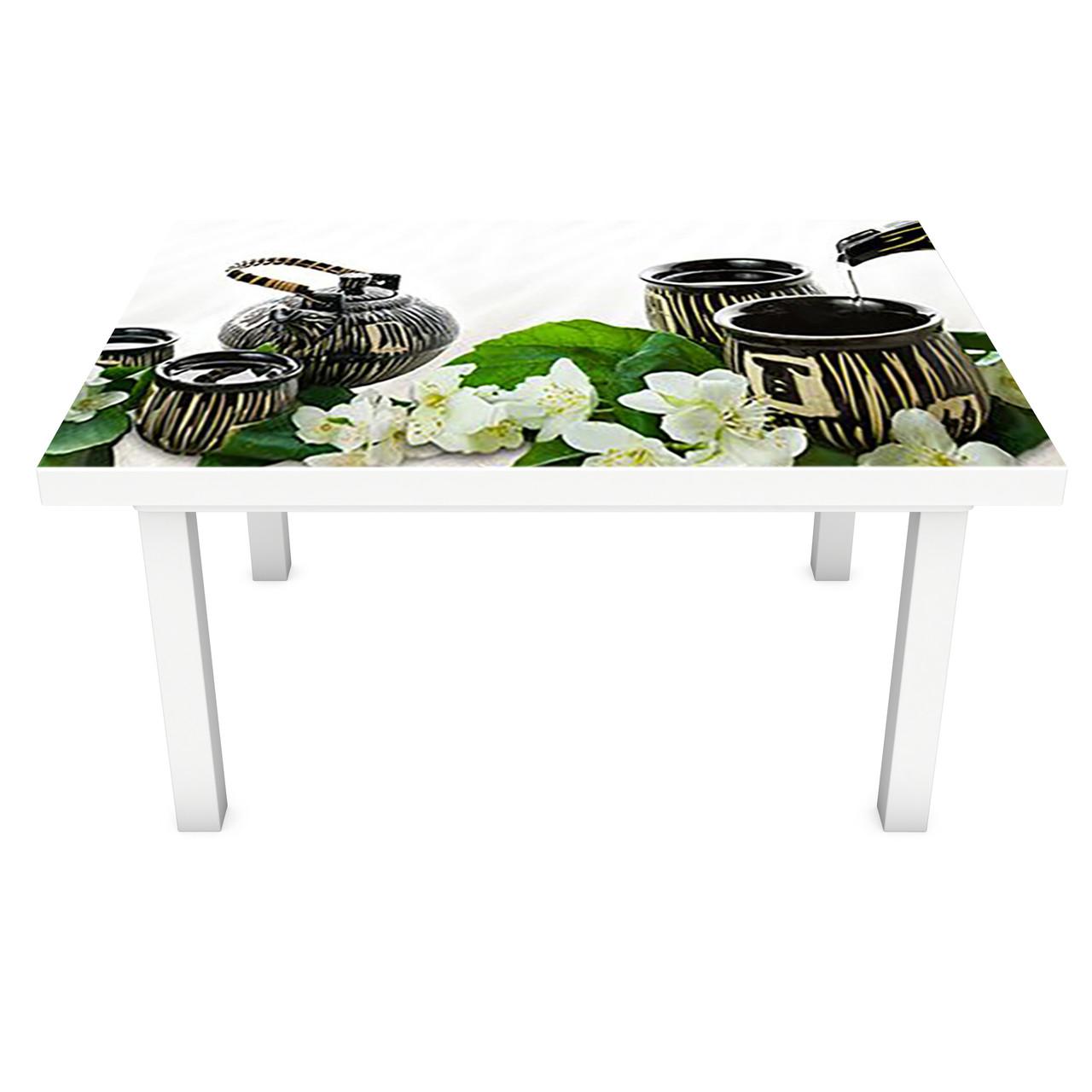 Наклейка на стол виниловая Чай и Жасмин ПВХ пленка для мебели интерьерная 3D азия восток белый 600*1200 мм