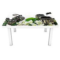 Наклейка на стол виниловая Чай и Жасмин ПВХ пленка для мебели интерьерная 3D азия восток белый 600*1200 мм, фото 1