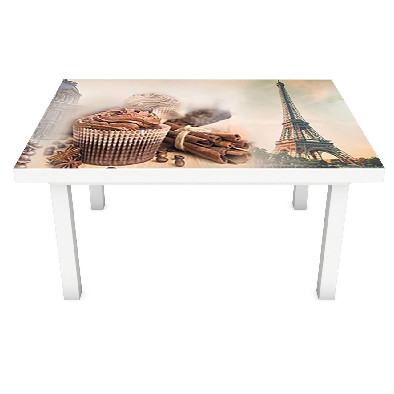Наклейка на стол виниловая Сладости в Париже 02 ПВХ пленка для мебели интерьерная 3D 600*1200 мм