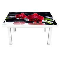 Наклейка на стол виниловая Алая орхидея Черные камни (ПВХ пленка для мебели интерьерная 3D) черный 600*1200 мм