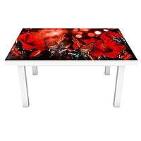Наклейка на стіл вінілова Червоні квіти і метелики метелики ПВХ плівка для меблів інтер'єрна 3D 600*1200 мм, фото 1