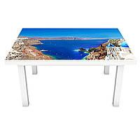 Наклейка на стол виниловая Завораживающая Греция на мебель интерьерная ПВХ 3Д Санторини голубой 600*1200 мм