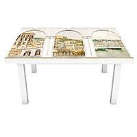 Наклейка на стіл вінілова Білі арки Місто на меблі інтер'єрна ПВХ 3Д античність бежевий 600*1200 мм