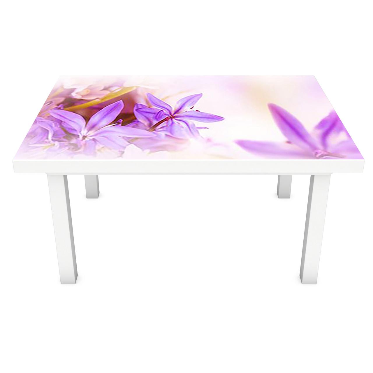 Наклейка на стіл вінілова Фіолетові квіти вініловий ПВХ плівка для меблів інтер'єрна 3D 600*1200 мм