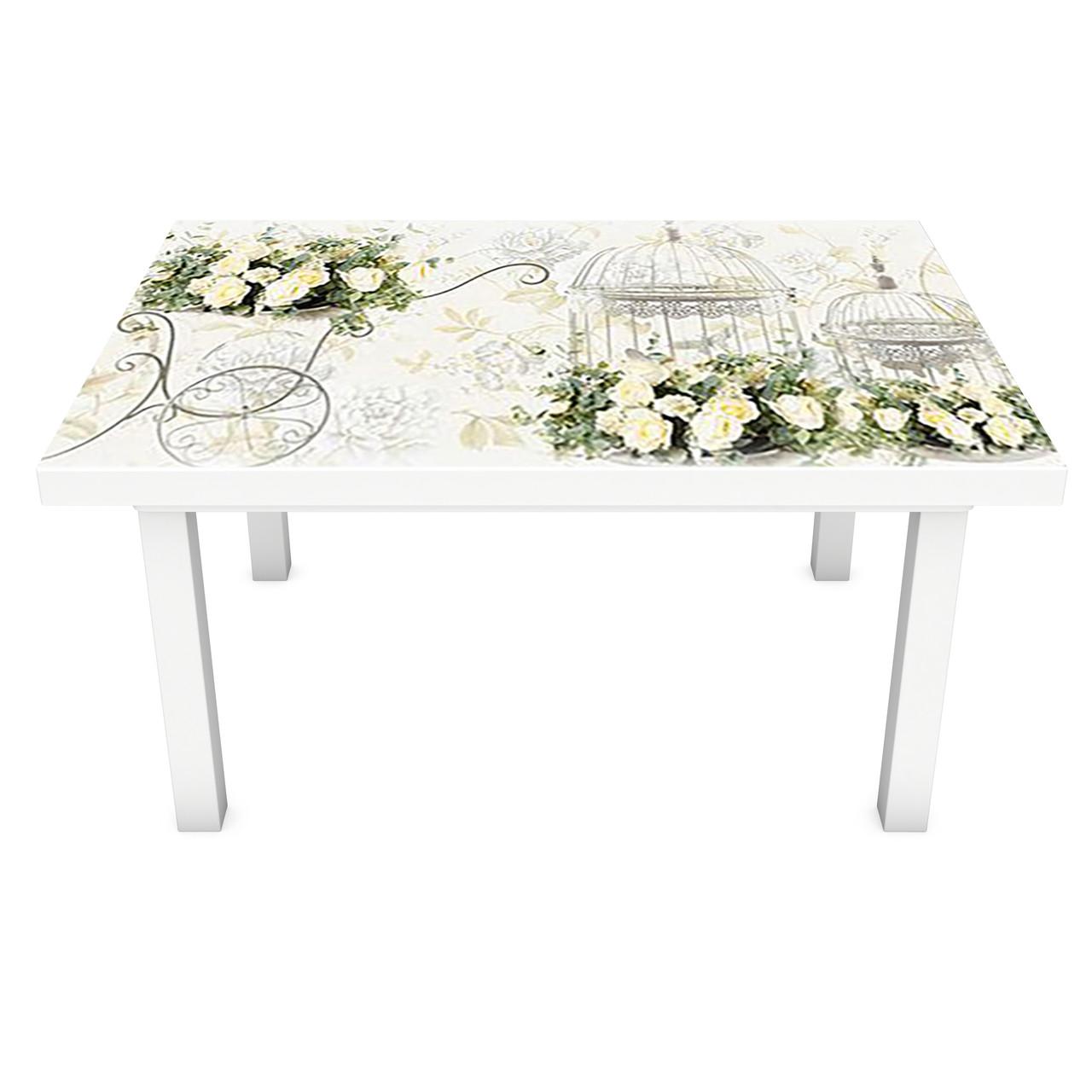 Наклейка на стол виниловая Винтажные розы ПВХ пленка для мебели интерьерная 3D цветы бежевый 600*1200 мм