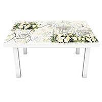 Наклейка на стол виниловая Винтажные розы ПВХ пленка для мебели интерьерная 3D цветы бежевый 600*1200 мм, фото 1