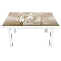 Наклейка на стіл вінілова Ренесанс ліпнина ретро ПВХ плівка для меблів інтер'єрна 3D бежевий 600*1200 мм