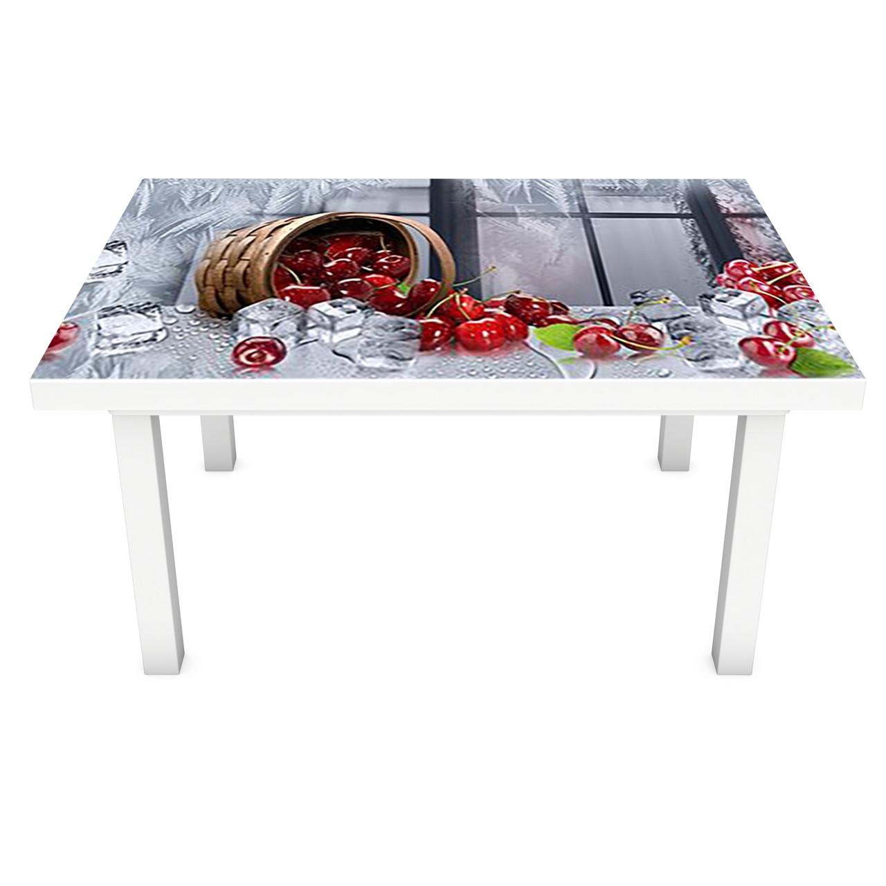 Наклейка на стол виниловая Ледяная Вишня (ПВХ пленка для мебели интерьерная 3D) ягоды лед серый 600*1200 мм