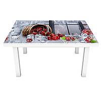 Наклейка на стол виниловая Ледяная Вишня (ПВХ пленка для мебели интерьерная 3D) ягоды лед серый 600*1200 мм, фото 1