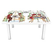Наклейка на стіл вінілова Дами в капелюхах Париж мальований на меблі інтер'єрна ПВХ 3Д беж 600*1200 мм