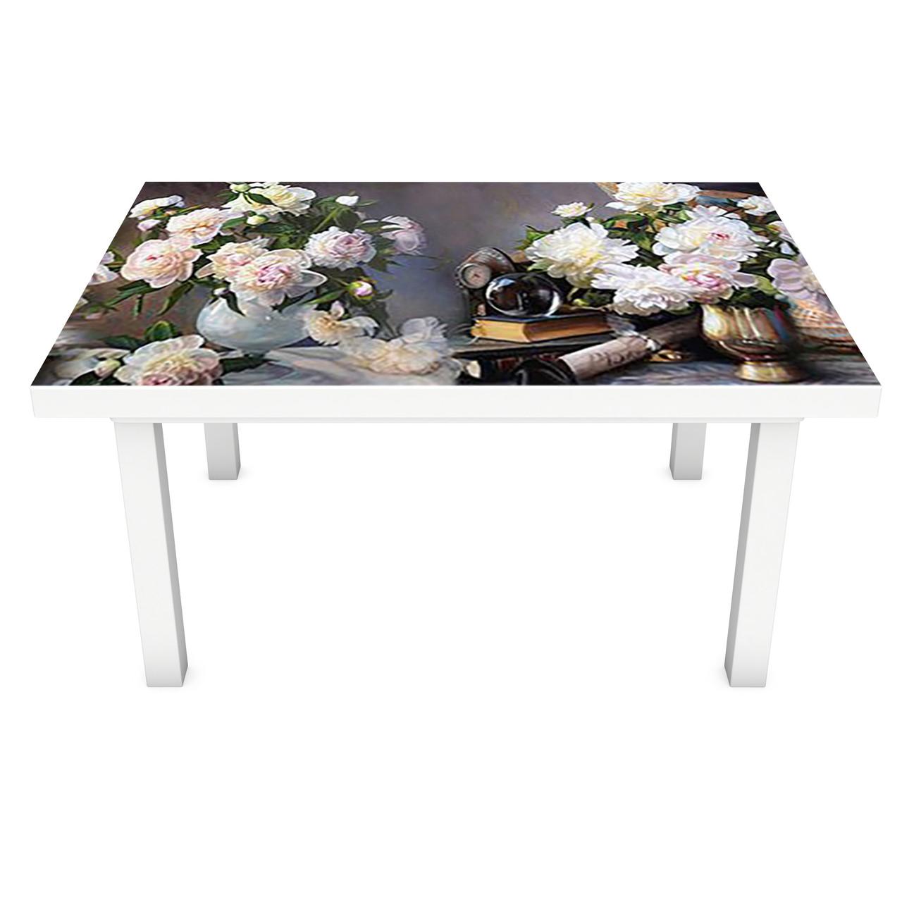 Наклейка на стол виниловая Аристократические пионы на мебель интерьерная ПВХ 3Д цветы серый 600*1200 мм