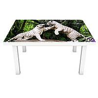 Наклейка на стіл вінілова Білі тигри ПВХ плівка для меблів інтер'єрна 3D тварини зелений 600*1200 мм