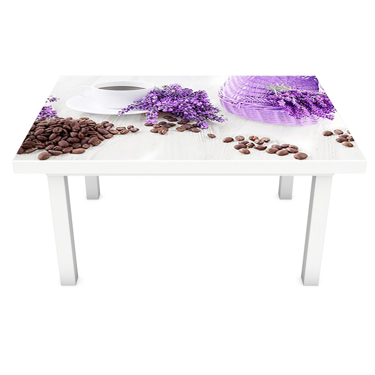 Наклейка на стіл вінілова Лаванда в кошику на меблі інтер'єрна ПВХ плівка фіолетовий 600*1200 мм