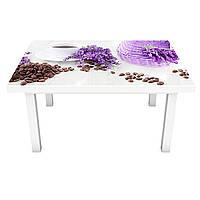 Наклейка на стол виниловая Лаванда в лукошке (на мебель интерьерная ПВХ пленка) фиолетовый 600*1200 мм