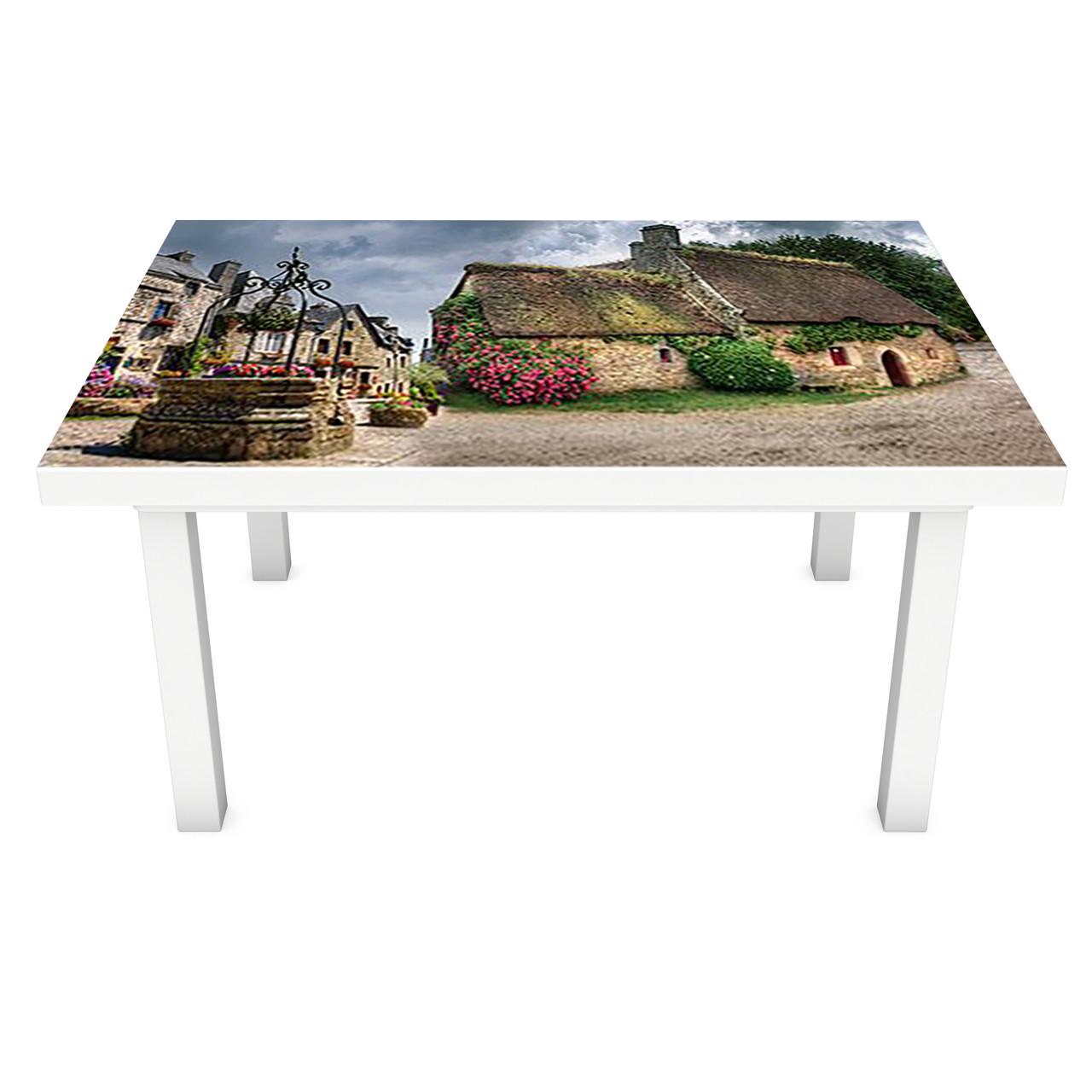 Наклейка на стол виниловая Домики Прованс ПВХ пленка для мебели интерьерная 3D ретро коричневый 600*1200 мм