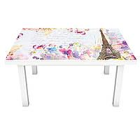 Наклейка на стіл вінілова Акварельний Париж під цеглу на меблі інтер'єрна ПВХ плівка білий 600*1200 мм