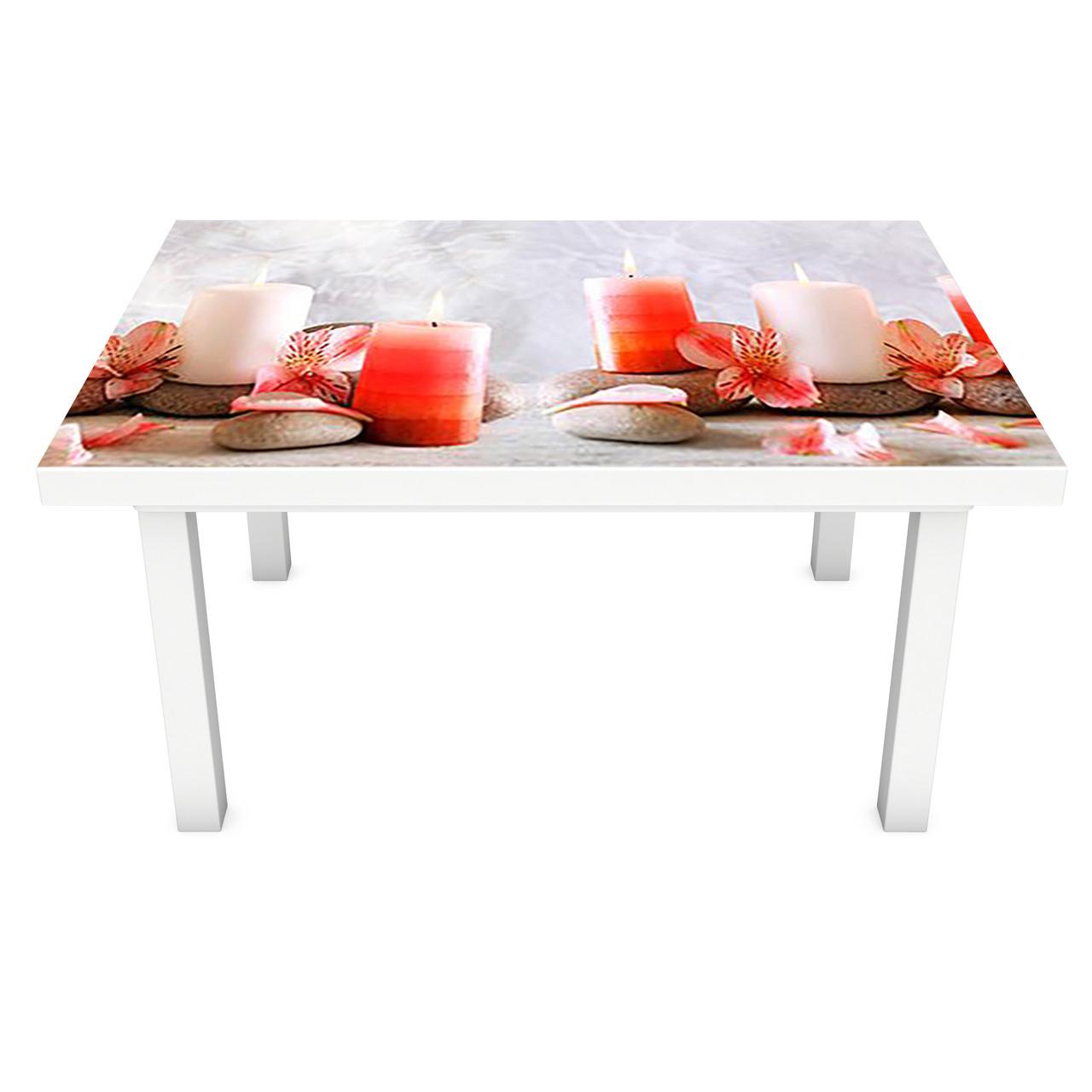 Наклейка на стіл вінілова Ніжні свічки і квіти на меблі інтер'єрна ПВХ 3Д релакс червоний 600*1200 мм