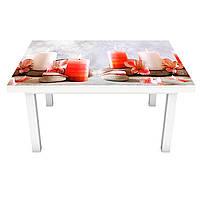 Наклейка на стіл вінілова Ніжні свічки і квіти на меблі інтер'єрна ПВХ 3Д релакс червоний 600*1200 мм, фото 1