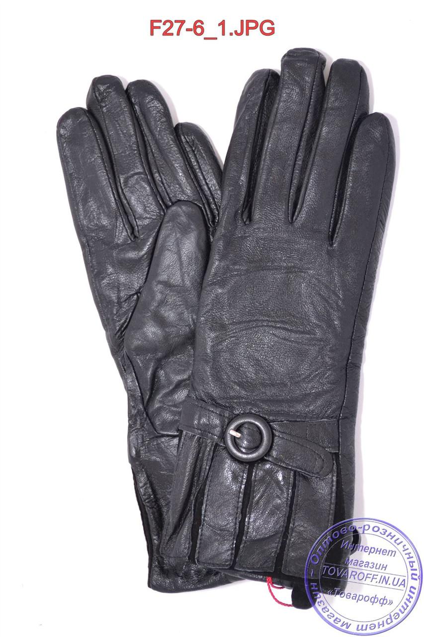Оптом женские кожаные зимние перчатки на меху кролика (мех искусственный) - F27-6